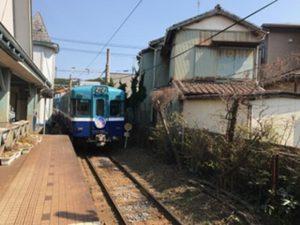 帰りは青い電車。。