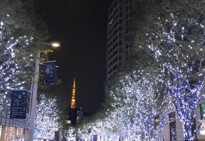 奥に見える赤い東京タワーに、青とスノーカラーのイルミネーションが良く映えますね 写真だとタワーが小さいですが、実際はもっと大きく見えますよ