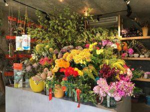 美しく咲き誇る生花コーナー