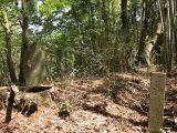 (写真1)馬頭尊(奥)と村境(手前)と刻まれた石碑